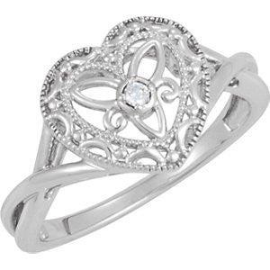 Sterling Silver .025 Ct Diamond Heart Ring, Size: 6 - shopvistar