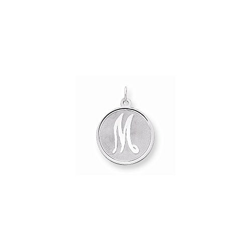 Sterling Silver Brocaded Initial M Charm - shopvistar