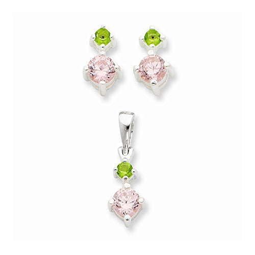 Sterling Silver Pink & Green Synthetic Cz Earring & Pendant Set, Best Quality Free Gift Box Satisfaction Guaranteed - shopvistar