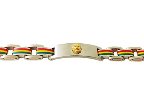 Stainless Steel Gold Plated Lion Bracelet Tricolor (7.5 Inches) - shopvistar