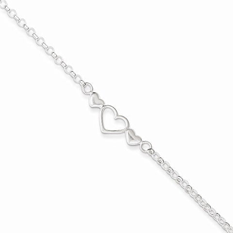 Sterling Silver 10inch Polished Triple Heart Anklet, Best Quality Free Gift Box Satisfaction Guaranteed - shopvistar