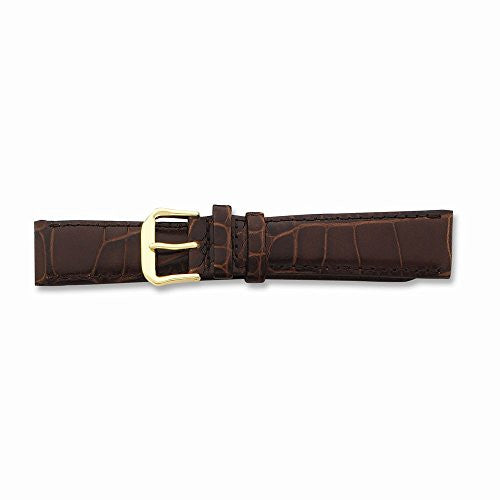 10mm Brn Croc Dark Stitch Gld-tone Buckle Watch Band, Best Quality Free Gift Box Satisfaction Guaranteed - shopvistar