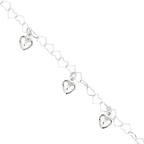 Sterling Silver Dangling Heart Bracelet, Best Quality Free Gift Box Satisfaction Guaranteed - shopvistar