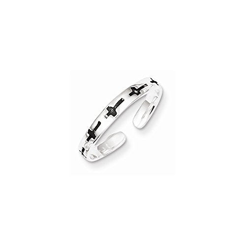 Sterling Silver Antiqued Crosses Toe Ring, Best Quality Free Gift Box Satisfaction Guaranteed - shopvistar