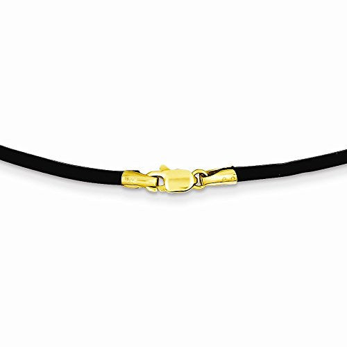 14k 2mm 20in Black Leather Cord Necklace, Best Quality Free Gift Box Satisfaction Guaranteed - shopvistar