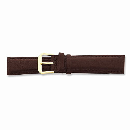 18mm Short Brown Smooth Lthr Gld-tone Buckle Watch Band, Best Quality Free Gift Box Satisfaction Guaranteed - shopvistar