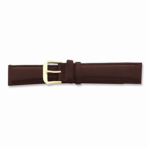 15mm Brown Smooth Leather Gold-tone Buckle Watch Band, Best Quality Free Gift Box Satisfaction Guaranteed - shopvistar