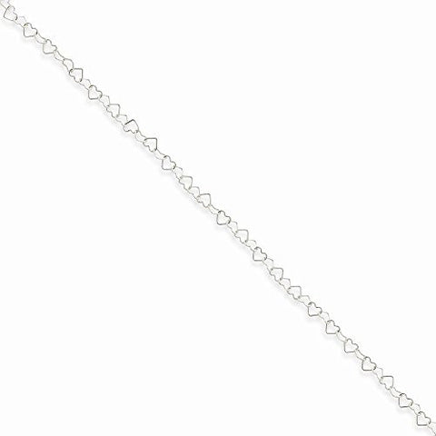 Sterling Silver 0.5mm Fancy Heart Link Anklet, Best Quality Free Gift Box Satisfaction Guaranteed - shopvistar