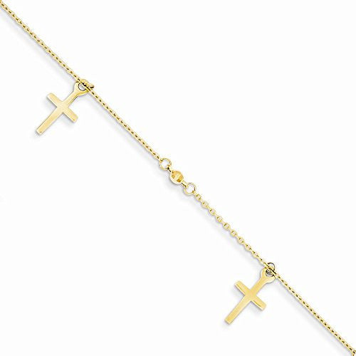 14k Polished And Textured Cross W/ 1in Ext. Anklet, Best Quality Free Gift Box Satisfaction Guaranteed - shopvistar