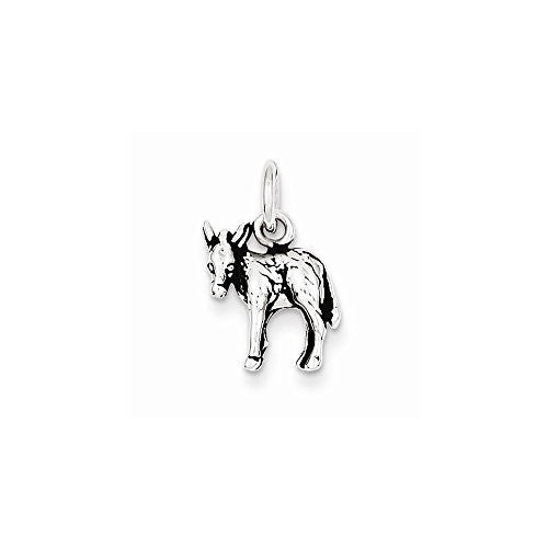 Sterling Silver Antiqued Donkey Charm, Best Quality Free Gift Box Satisfaction Guaranteed - shopvistar