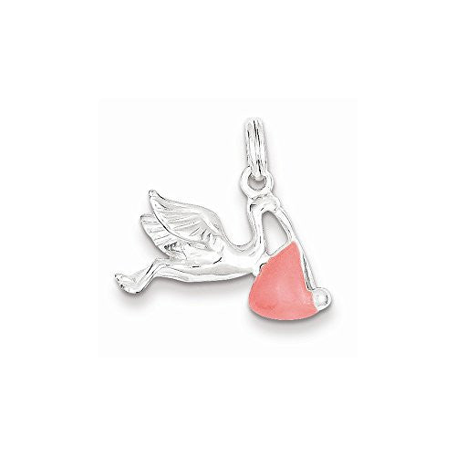 Sterling Silver Pink Enamel Polished Stork Charm, Best Quality Free Gift Box Satisfaction Guaranteed - shopvistar