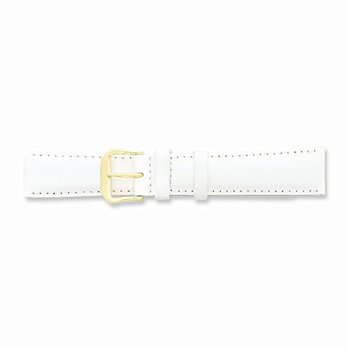 15mm White Smooth Leather Gold-tone Buckle Watch Band, Best Quality Free Gift Box Satisfaction Guaranteed - shopvistar