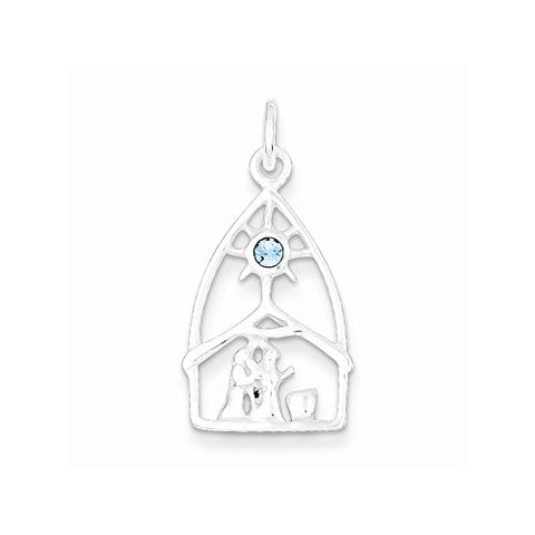 Sterling Silver & Stellux Crystal Nativity Charm, Best Quality Free Gift Box Satisfaction Guaranteed - shopvistar