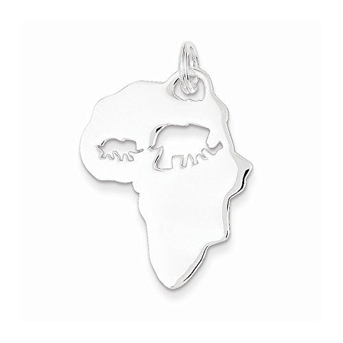Sterling Silver Africa Continent With Elephant Cutout Pendant - shopvistar