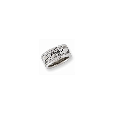 Stainless Steel Cz Signature Ring by Ed Hardy Jewelry, Best Quality Free Gift Box Satisfaction Guaranteed - shopvistar