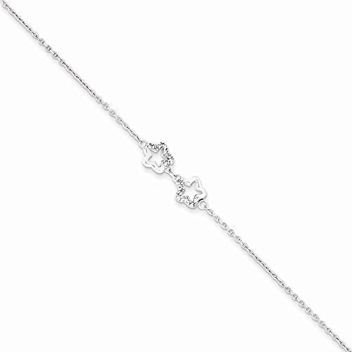 Sterling Silver Rhodium Plated Cz Double Star Bracelet - shopvistar