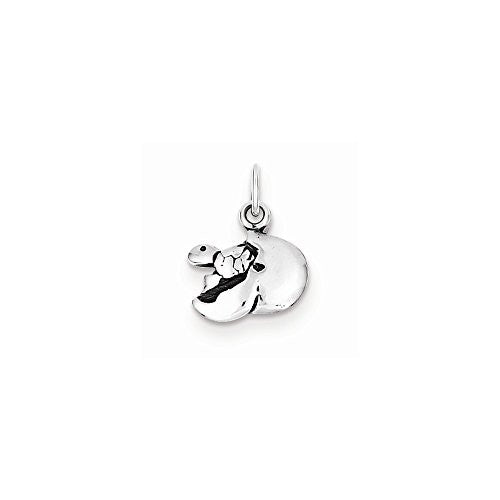 Sterling Silver Baby Turtle In Egg Charm, Best Quality Free Gift Box Satisfaction Guaranteed - shopvistar