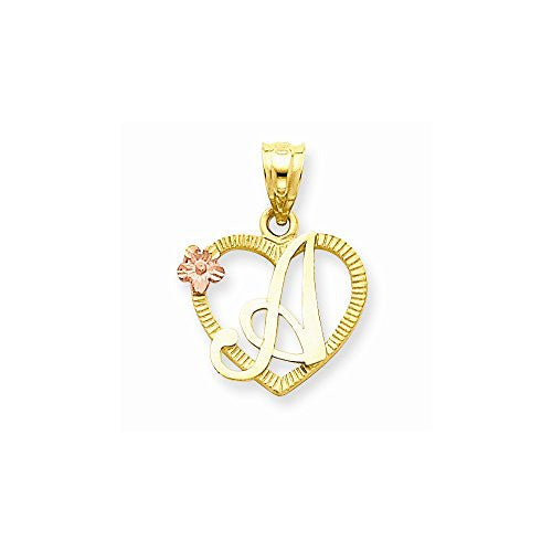 14k Two-Tone Initial A in Heart Charm, Best Quality Free Gift Box Satisfaction Guaranteed - shopvistar