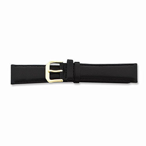 12mm Short Black Smooth Lthr Gold-tone Buckle Watch Band, Best Quality Free Gift Box Satisfaction Guaranteed - shopvistar