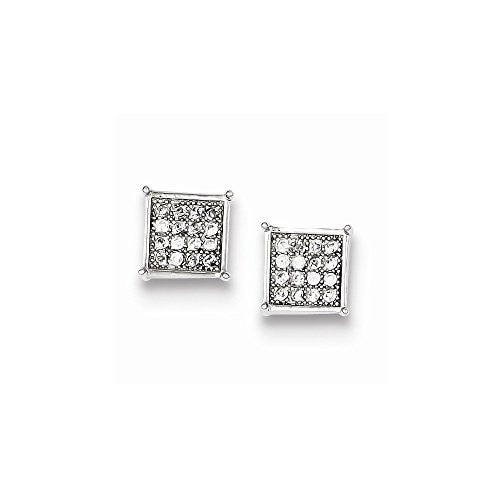 Sterling Silver CZ Pave Square Post Earrings, Best Quality Free Gift Box Satisfaction Guaranteed - shopvistar