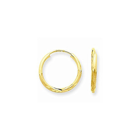14k 1.5mm Satin Dia-Cut Endless Hoop Earrings - shopvistar