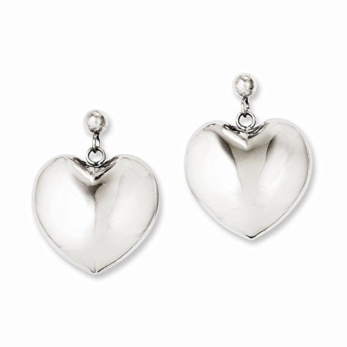 Stainless Steel Polished Puff Heart Post Dangle Earrings - shopvistar