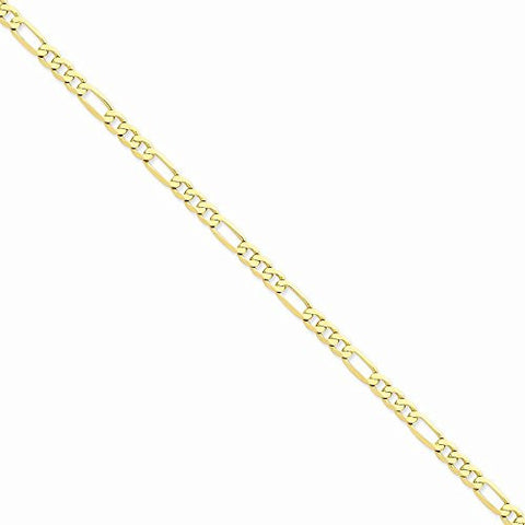 14k 5.25mm Flat Figaro Chain, Best Quality Free Gift Box Satisfaction Guaranteed - shopvistar
