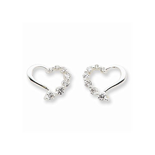Sterling Silver Cz Heart Journey Earrings, Best Quality Free Gift Box Satisfaction Guaranteed - shopvistar