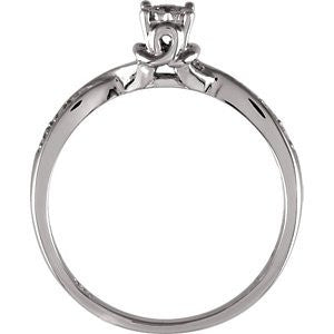 Sterling Silver .07 Ctw Engagement Ring, Size: 7 - shopvistar