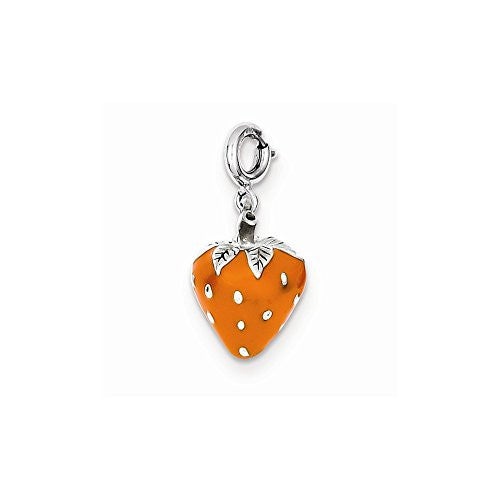 Sterling Silver Enameled Strawberry Charm, Best Quality Free Gift Box Satisfaction Guaranteed - shopvistar