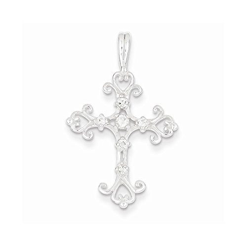 Sterling Silver Cz Cross Pendant, Best Quality Free Gift Box Satisfaction Guaranteed - shopvistar