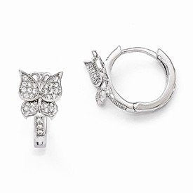 Sterling Silver & CZ Brilliant Embers Butterfly Hoop Earrings - shopvistar