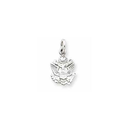 14k White Gold U.s. Army Insignia Charm, Best Quality Free Gift Box Satisfaction Guaranteed - shopvistar