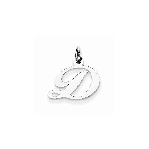Sterling Silver Small Fancy Script Initial D Charm, Best Quality Free Gift Box Satisfaction Guaranteed - shopvistar