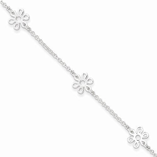 Sterling Silver Polished Flower W/ 1in Ext. Anklet, Best Quality Free Gift Box Satisfaction Guaranteed - shopvistar