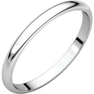10K White Gold Light Half Round Band, Size: 10 - shopvistar