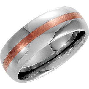 14K Rose Gold 14K Rose Inlay Dome Band, Size: 10.5 - shopvistar