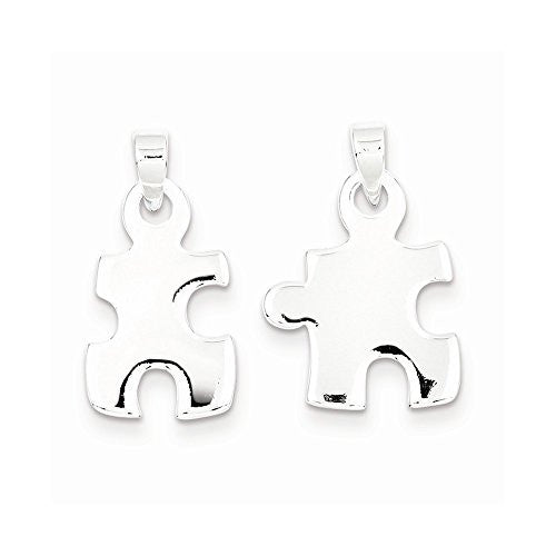 Sterling Silver Polished Puzzle Pieces Pendant, Best Quality Free Gift Box Satisfaction Guaranteed - shopvistar