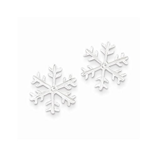 Sterling Silver & CZ Polished Snowflake Post Earrings - shopvistar