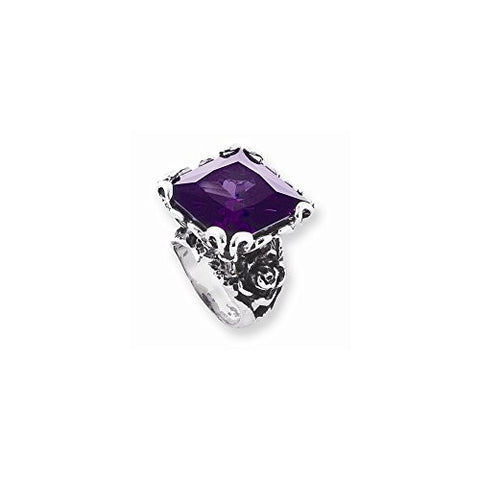 Stainless Steel Purple Cz W/rose On Sides Ring by Ed Hardy Jewelry, Best Quality Free Gift Box Satisfaction Guaranteed - shopvistar