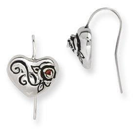 Stainless Steel Ed Hardy Heart w/CZ Dangle Earrings - shopvistar