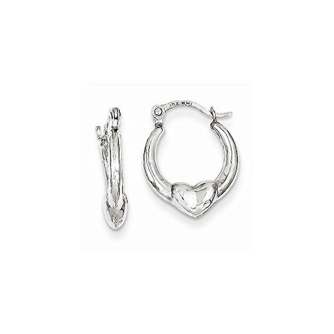 10k White Gold Heart Hollow Hoop Earrings, Best Quality Free Gift Box Satisfaction Guaranteed - shopvistar