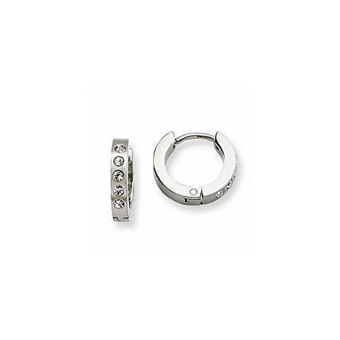 Stainless Steel CZ Hinged Hoop Earrings - shopvistar