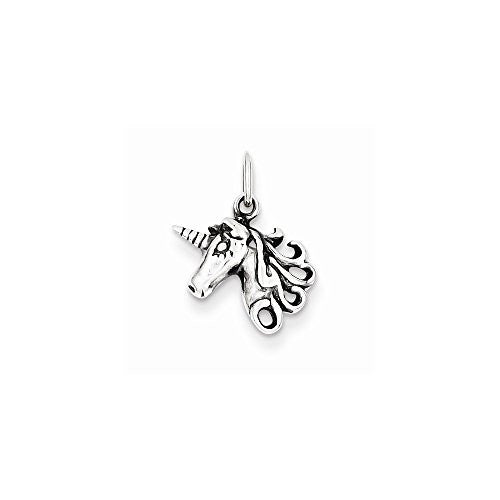 Sterling Silver Antiqued Unicorn Head Charm, Best Quality Free Gift Box Satisfaction Guaranteed - shopvistar