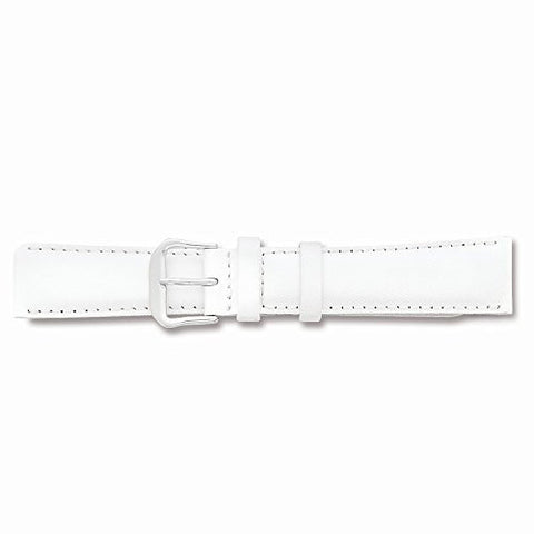15mm White Smooth Leather Silver-tone Buckle Watch Band, Best Quality Free Gift Box Satisfaction Guaranteed - shopvistar