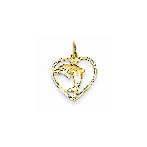 14k Dolphin in Heart Charm, Best Quality Free Gift Box Satisfaction Guaranteed - shopvistar