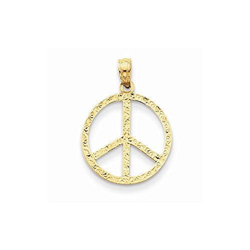 14k Peace Sign Pendant, Best Quality Free Gift Box Satisfaction Guaranteed - shopvistar