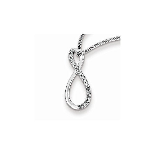 Sterling Silver Rhodium Plated Diamond Accent Infinity Necklace - shopvistar