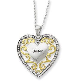 Sterling Silver & Gold-plated Sister 18in Heart Necklace - shopvistar