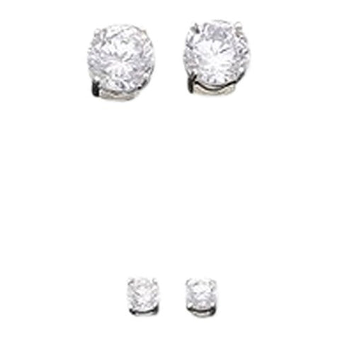Set of Sterling Silver 4mm and 8mm Basquet Set CZ Studd Earrings - shopvistar